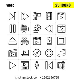 Video Line Icon Pack For Designers And Developers. Icons Of Director, Entertainment, Movie, Video, Film, Movie, Video, Multimedia, Vector