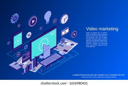 Video marketing, advertising, promotion flat isometric vector concept illustration