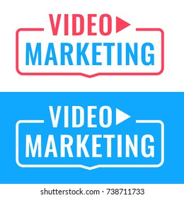 Video marketing. Badge with icon. Flat vector illustration on white and blue background.