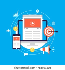 Video marketing campaign, online promotion, digital marketing, internet advertising flat vector illustration. Video tutorials, viral marketing design for web banners and apps
