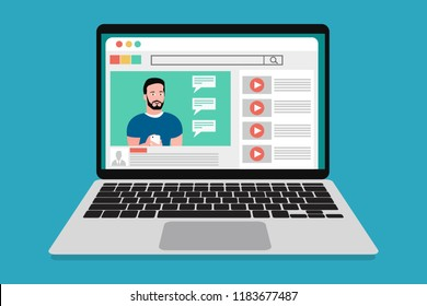 Video marketing coaching, business education online. Youtuber showing technology phone tutorial. Smiling influence video blogger in video. Webinar icon, online training. Eps Vector illustration flat.