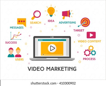 Video marketing concept with business icons flat style. Perfect for your business. Vector Illustration