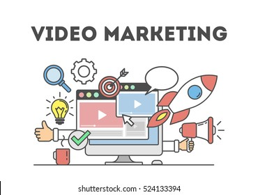 Video marketing concept. Digital design. Social network and media communication.