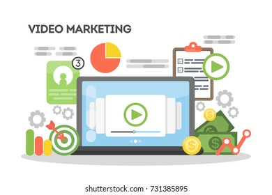Video marketing concept illustration. Idea of online video business and advertising.