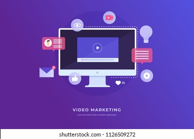 Video marketing concept. Monitor computer and icon video player, email. Digital industry. Vector flat illustration for web banner, infographics.