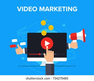 Video marketing icon concept. Making money from video with social network communication. Advertising webinar icon. Vector flat illustration for web banner, infographics, hero images