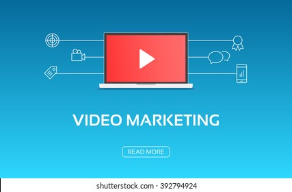 Video Marketing Laptop & Icons