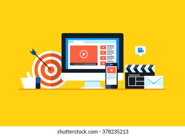 Video marketing, Online video. Flat design modern vector illustration concept.