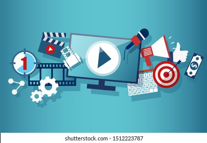 Video marketing social media and advertisement concept template with monitor clapper board megaphone dollar banknote calendar target elements