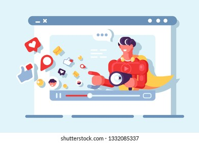 Video marketing social network communication vector illustration. Business content online flat style concept. Digital media market strategy isolated on light background
