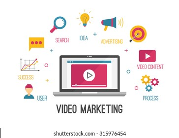 Video Marketing vector Illustration background