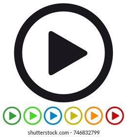 Video media play button flat icon for apps and websites