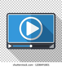 Video or media player in flat style on transparent background