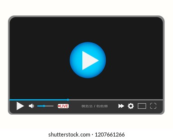 Video media player interface template for web and mobile apps with icons and live stream emblem. Vector illustration in flat style
