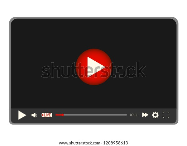 Video media player interface template mobile apps and web with icons and live stream emblem. Vector illustration in flat style