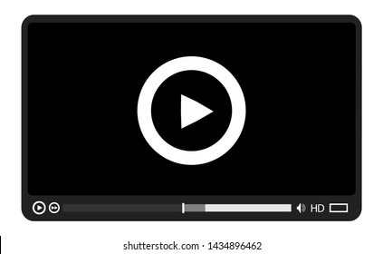 Video media player.Interface for web and mobile apps.Vector illustration,EPS10.
