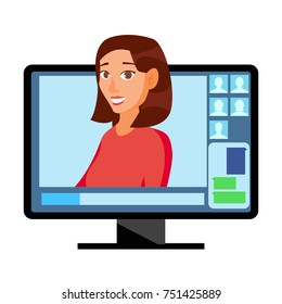 Video Meeting Online Vector. Man And Chat. Ceo And Employees. Business Meeting, Consultation, Conference Office, Seminar, Online Training Concept. Flat Cartoon Isolated Illustration