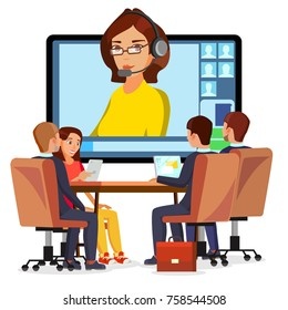 Video Meeting Online Vector. Woman And Chat. Ceo And Employees. Business Meeting, Consultation, Conference Office, Seminar, Online Training Concept. Flat Cartoon Isolated Illustration