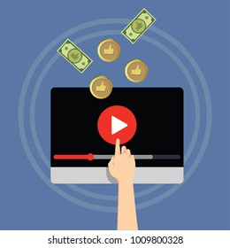 Video monetization concept. Making money from video content.
