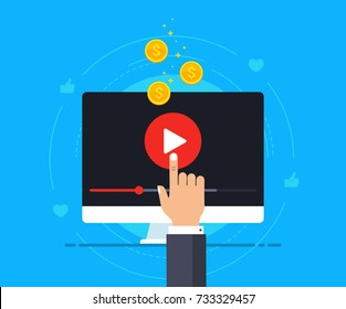 Video monetization concept. Making money from video content. Vector illustration in flat style