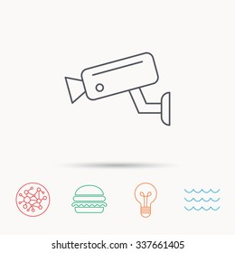 Video monitoring icon. Camera cctv sign. Global connect network, ocean wave and burger icons. Lightbulb lamp symbol.