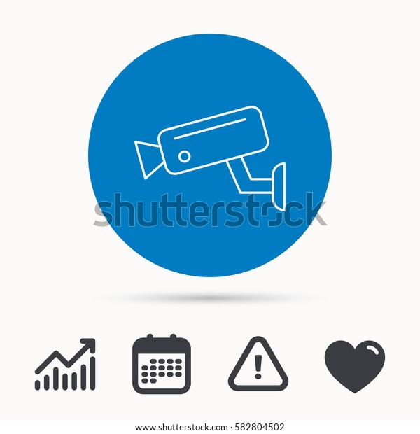 Video monitoring icon. Camera cctv sign. Calendar, attention sign and growth chart. Button with web icon. Vector