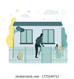 Video monitoring. A vector illustration of a masked man climbing over a fence, a surveillance camera is shooting this. The camera shoots as a man in a mask climbs through the fence of a house