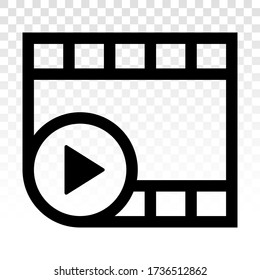Video or movie clip play line art icon for apps and websites