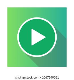 Video movie play, playback button icon vector illustration. green color.