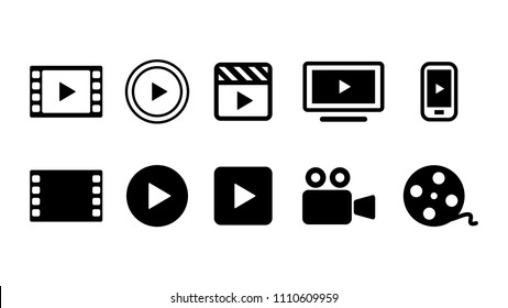 Video movie vod streaming button icon set vector illustration. White black color.