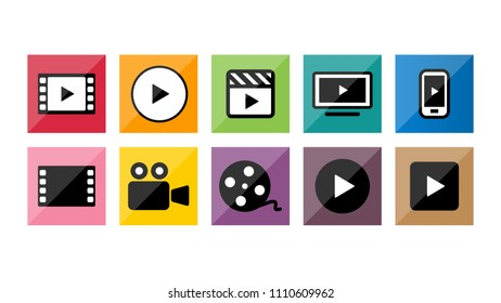 Video movie vod streaming button icon set vector illustration. red blue yellow color.