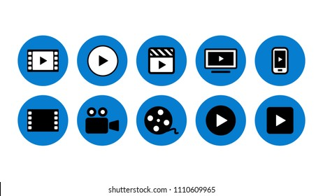 Video movie vod streaming button icon set vector illustration. Blue color.