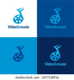 Video and Music Logo and Icon. Video Illustration. Playful logo featuring a reel icon that is also a note icon.