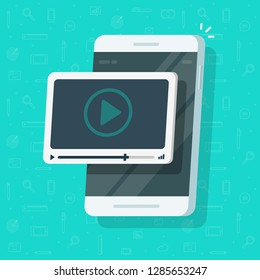 Video on mobile phone vector illustration, flat cartoon smartphone screen with online webinar concept, idea of watching tutorial watching, e-learning, cellphone movie streaming