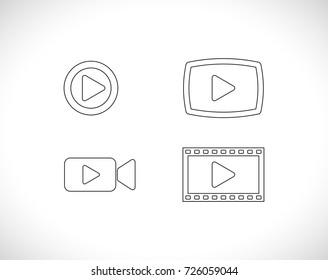 video outline icon set