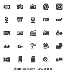 Video and photo vector icons set, modern solid symbol collection, filled style pictogram pack. Signs, logo illustration. Set includes icons as movie camera, film strip, camcorder, cctv, cassette tape