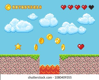 Video pixel game landscape with gold coins, white clouds and red hearts vector illustration. Game and videogame, activity entertainment lifestyle