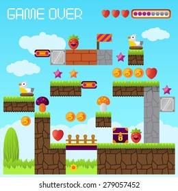 Video platform game interface design elements. Vector background and different blocks to construct your own game level. Vintage style game design. Day level. Mobile game. Pixel game