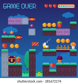 Video platform game interface design elements. Vector background and different blocks to construct your own game level. Vintage style game design. Night level. Mobile game. Pixel game