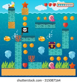 Video platform game interface design elements. Vector background and different blocks to construct your own game level. Vintage style game design. Underwater level. Pixel game.