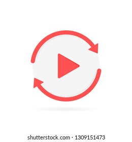 Video play button like replay icon. concept of watching on streaming video player or livestream webinar. Modern flat style vector illustration.