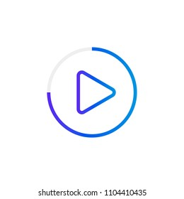 Video play button like simple replay icon. concept of watching on streaming video player or livestream webinar ui emblem. Modern vector illustration.