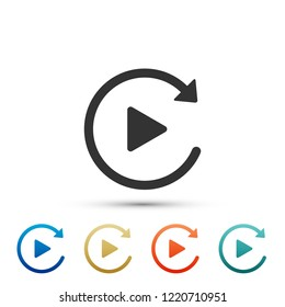 Video play button like simple replay icon isolated on white background. Set elements in colored icons. Flat design. Vector Illustration
