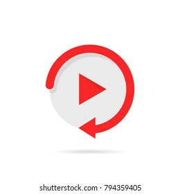 video play button like simple replay icon. concept of watching on streaming video player or livestream webinar ui emblem. flat style trend modern red logotype graphic design on white background