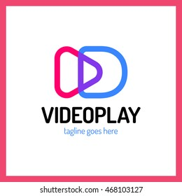 Video play sign with letter D logo. Movie camera logotype