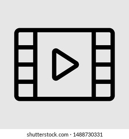 Video Play vector Thin Icon. Linear UI style. Icon or Web design and Mobile App. One icon from the outline set in Pixel Perfect style. Editable vector stroke. 64x64 Pixel Perfect, 2 px outline