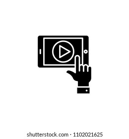 Video playback black icon concept. Video playback flat  vector symbol, sign, illustration.