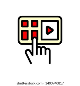Video playback black icon concept. Video playback flat vector illustration.