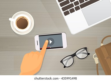 Video Player Application Cell Smart Phone Online Streaming Top View Flat Vector Illustration