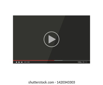 Video player bar. Player video in flat style on a white background. Vector